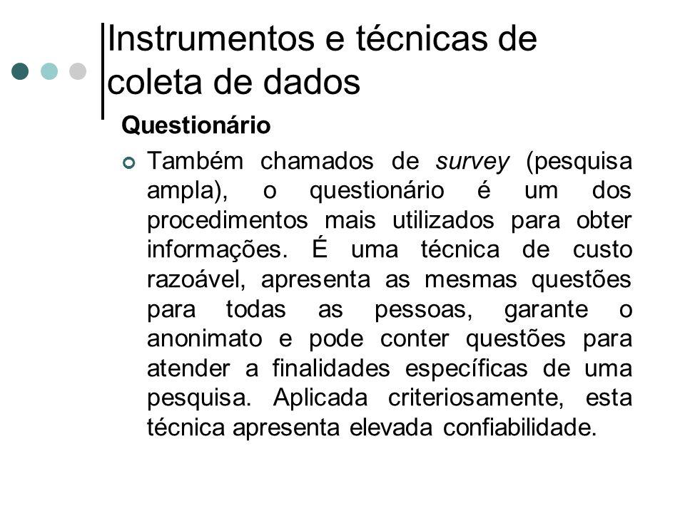 Instrumentos e técnicas de coleta de dados