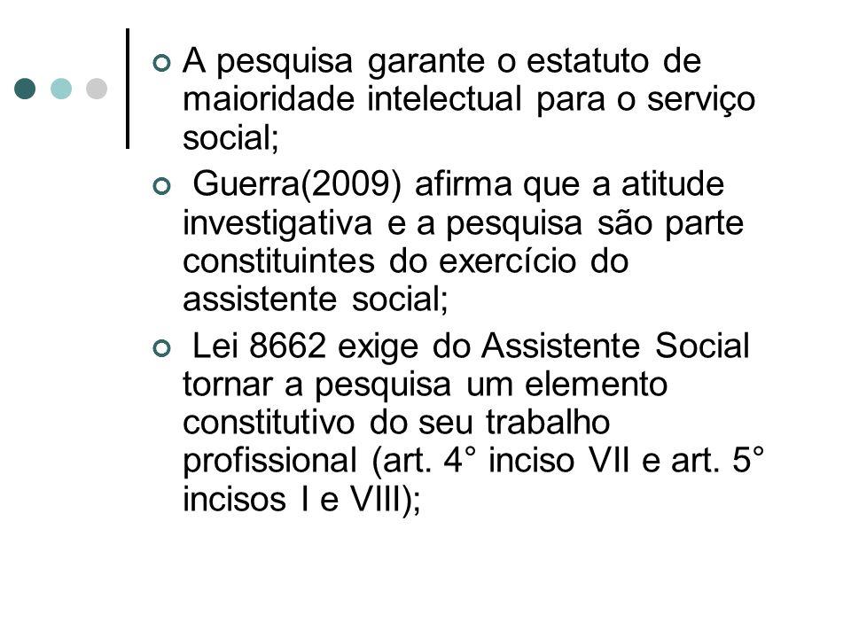 A pesquisa garante o estatuto de maioridade intelectual para o serviço social;