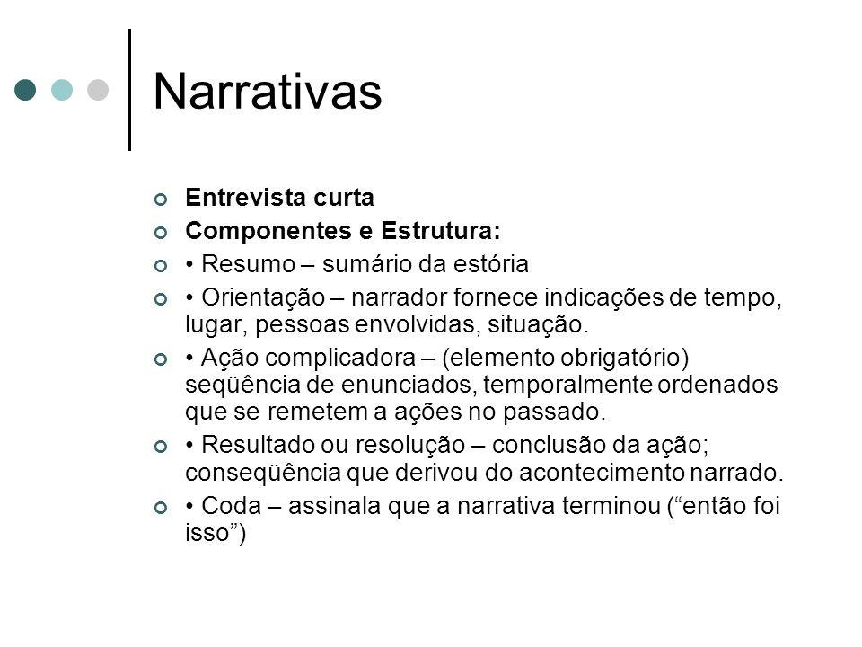 Narrativas Entrevista curta Componentes e Estrutura: