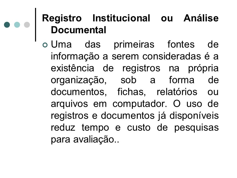 Registro Institucional ou Análise Documental