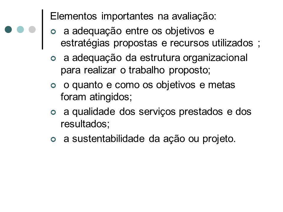 Elementos importantes na avaliação: