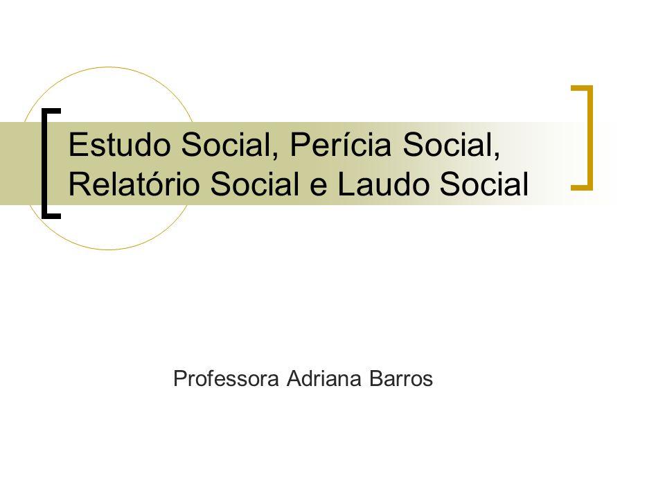 Estudo Social, Perícia Social, Relatório Social e Laudo Social
