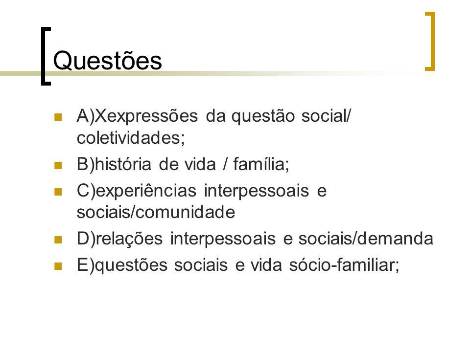 Questões A)Xexpressões da questão social/ coletividades;