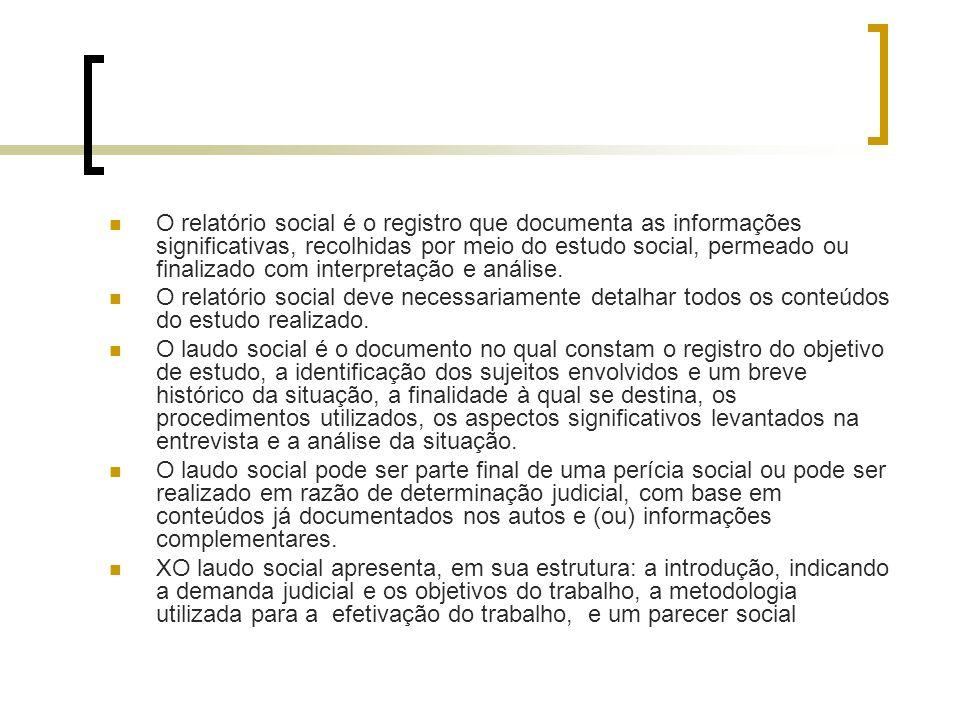O relatório social é o registro que documenta as informações significativas, recolhidas por meio do estudo social, permeado ou finalizado com interpretação e análise.