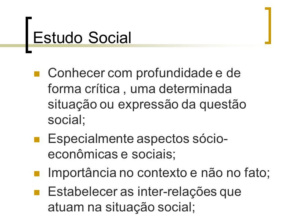 Estudo Social Conhecer com profundidade e de forma crítica , uma determinada situação ou expressão da questão social;