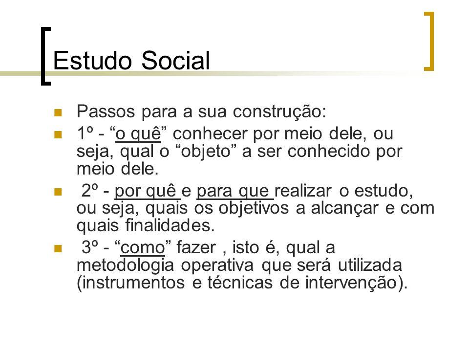 Estudo Social Passos para a sua construção:
