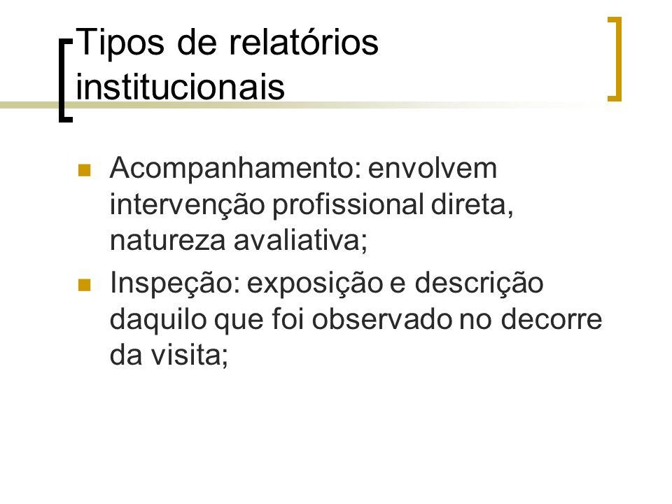 Tipos de relatórios institucionais