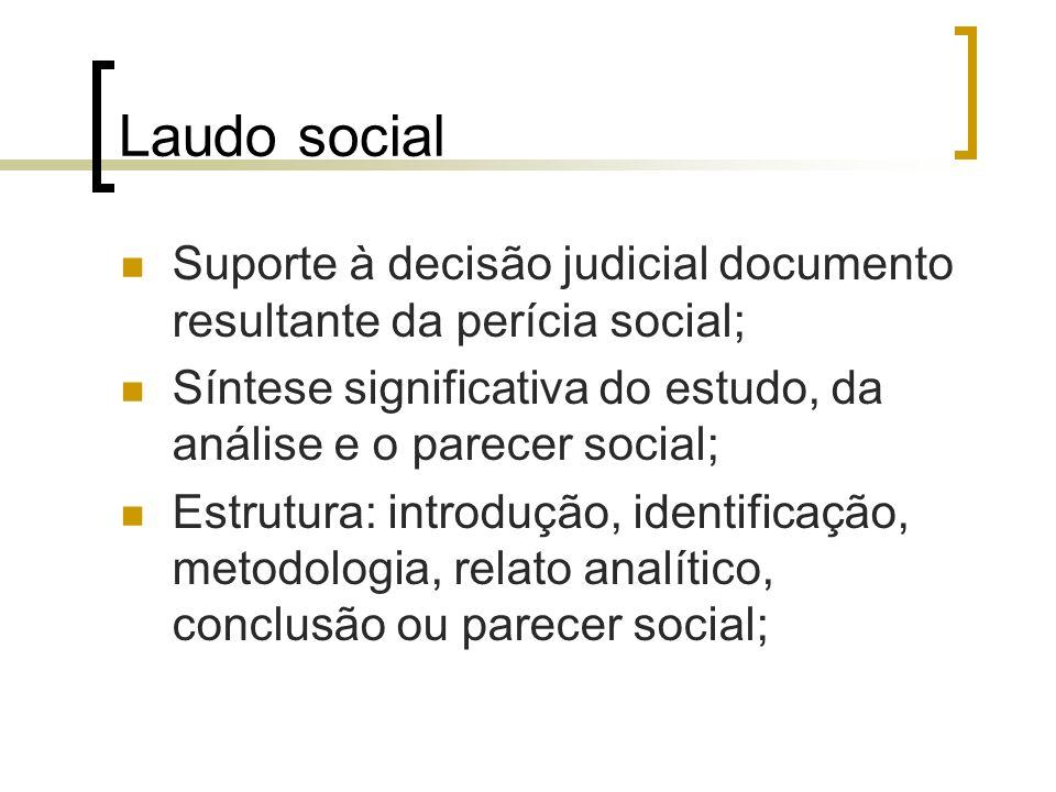 Laudo social Suporte à decisão judicial documento resultante da perícia social; Síntese significativa do estudo, da análise e o parecer social;