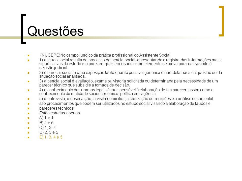 Questões (NUCEPE)No campo jurídico da prática profissional do Assistente Social: