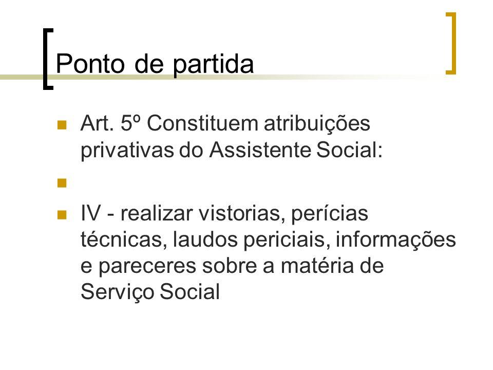 Ponto de partida Art. 5º Constituem atribuições privativas do Assistente Social: