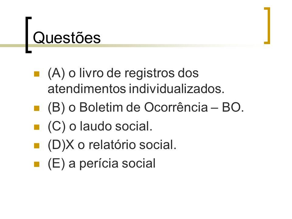 Questões (A) o livro de registros dos atendimentos individualizados.