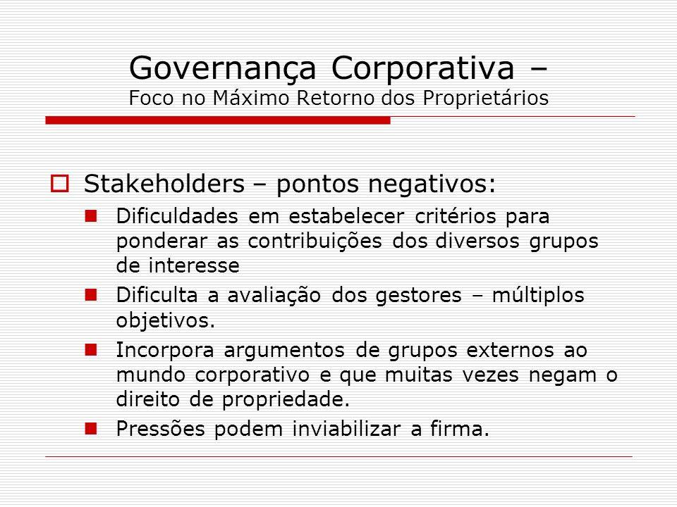 Governança Corporativa – Foco no Máximo Retorno dos Proprietários