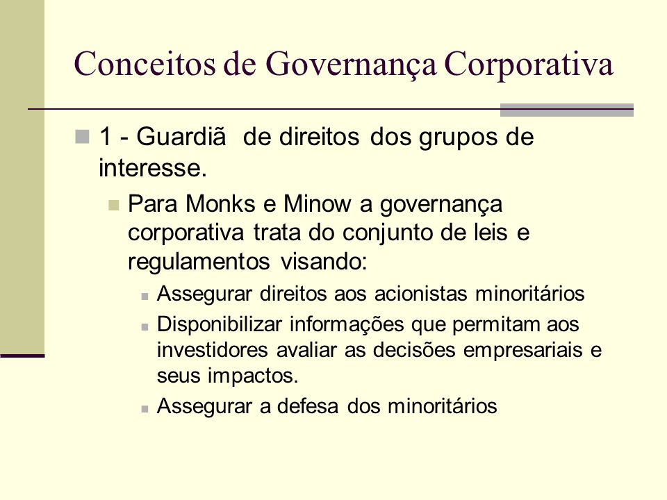 Conceitos de Governança Corporativa