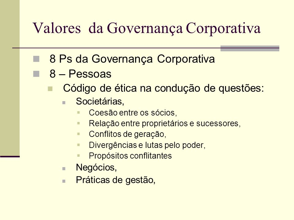 Valores da Governança Corporativa