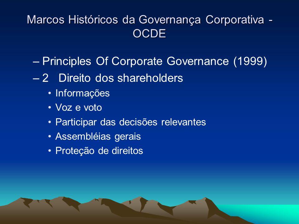 Marcos Históricos da Governança Corporativa - OCDE