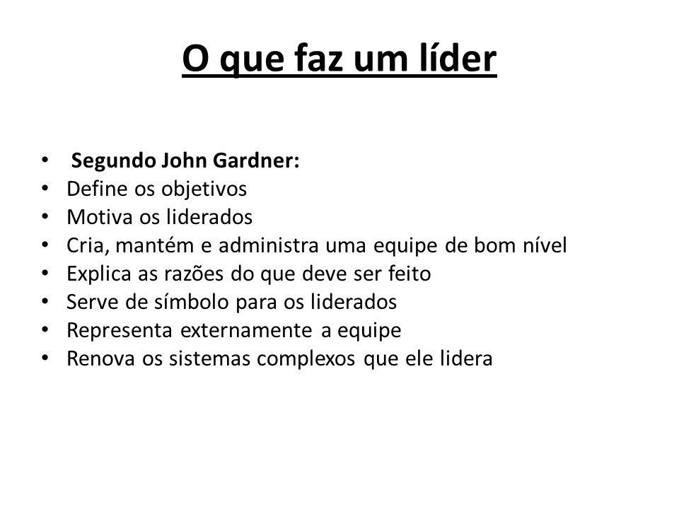 O que faz um líder Segundo John Gardner: Define os objetivos