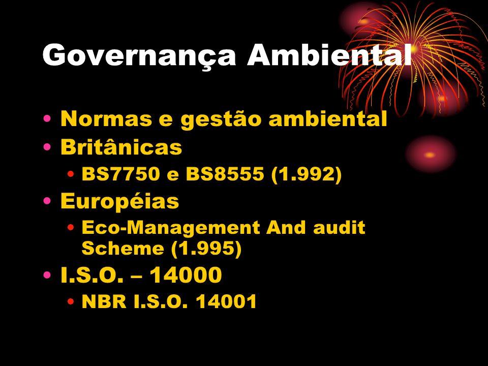Governança Ambiental Normas e gestão ambiental Britânicas Européias