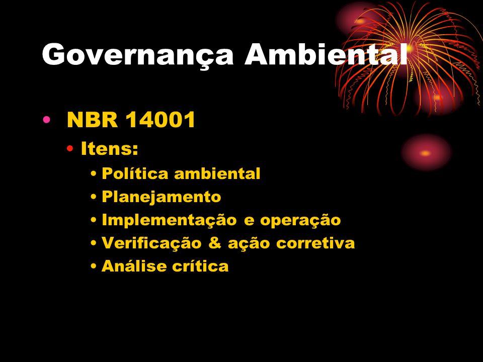 Governança Ambiental NBR 14001 Itens: Política ambiental Planejamento