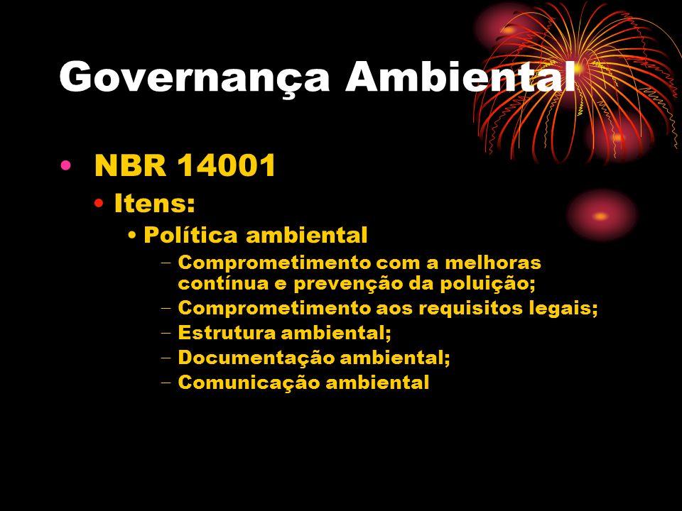 Governança Ambiental NBR 14001 Itens: Política ambiental