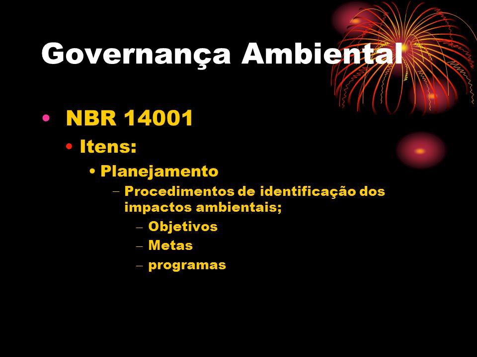 Governança Ambiental NBR 14001 Itens: Planejamento