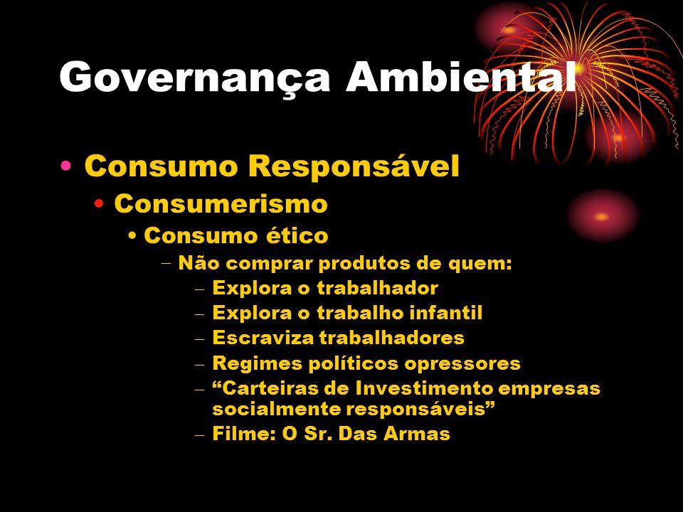 Governança Ambiental Consumo Responsável Consumerismo Consumo ético