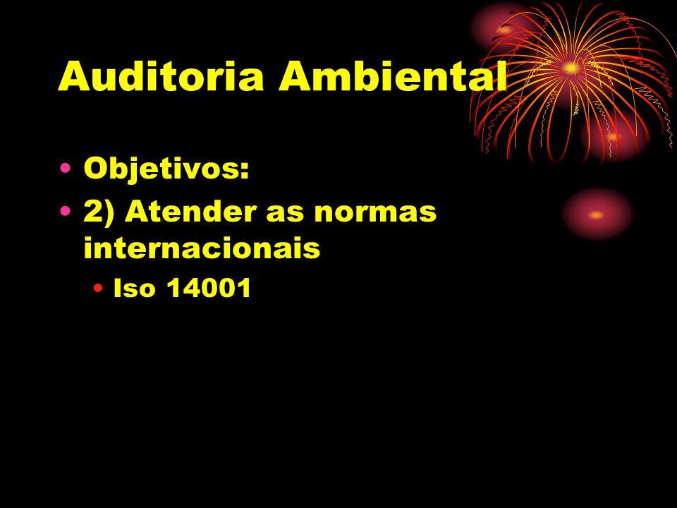 Auditoria Ambiental Objetivos: 2) Atender as normas internacionais