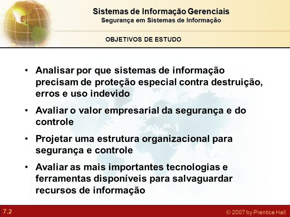 Sistemas de Informação Gerenciais Segurança em Sistemas de Informação