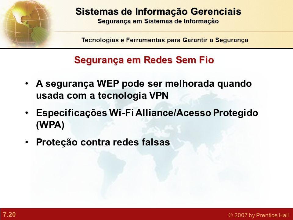 Sistemas de Informação Gerenciais Segurança em Redes Sem Fio