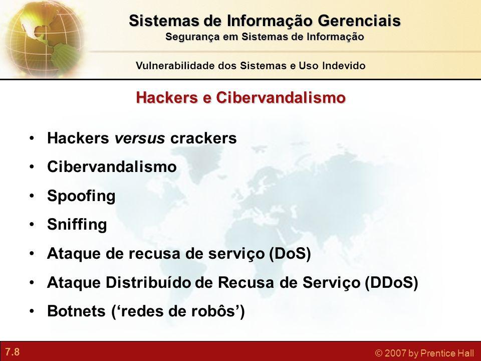 Sistemas de Informação Gerenciais Hackers e Cibervandalismo