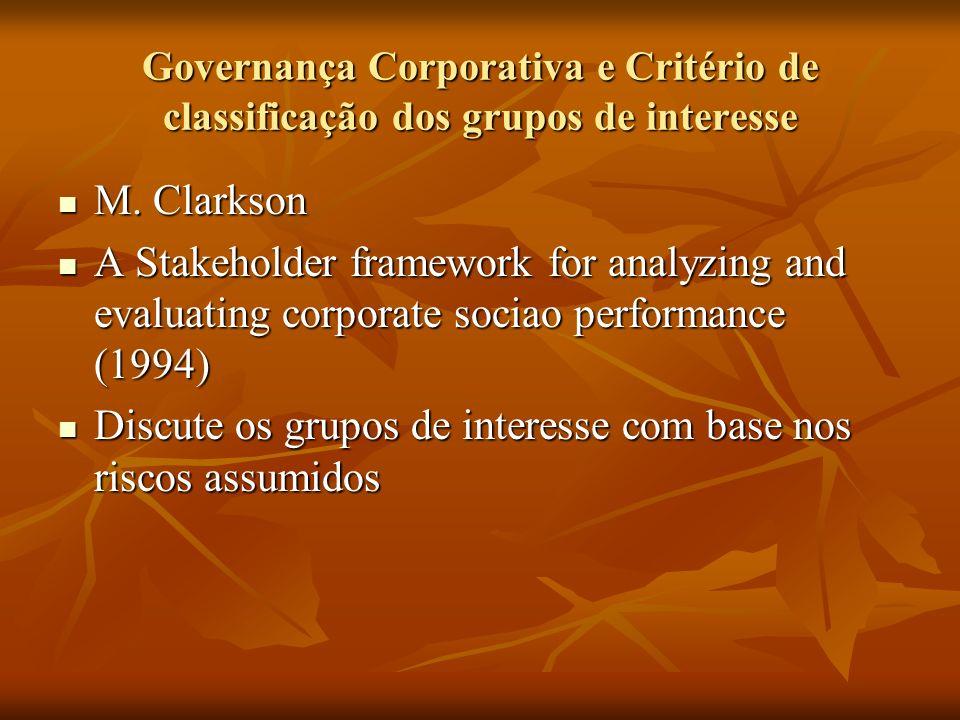 Discute os grupos de interesse com base nos riscos assumidos