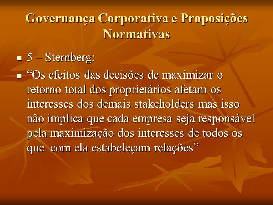 Governança Corporativa e Proposições Normativas