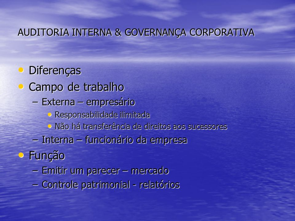 AUDITORIA INTERNA & GOVERNANÇA CORPORATIVA
