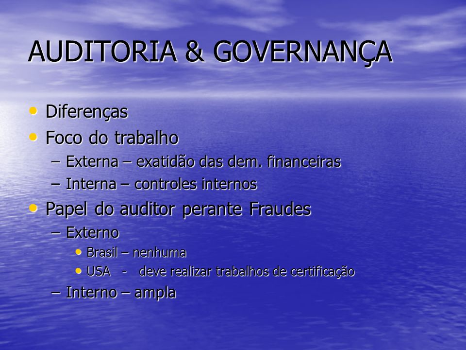 AUDITORIA & GOVERNANÇA