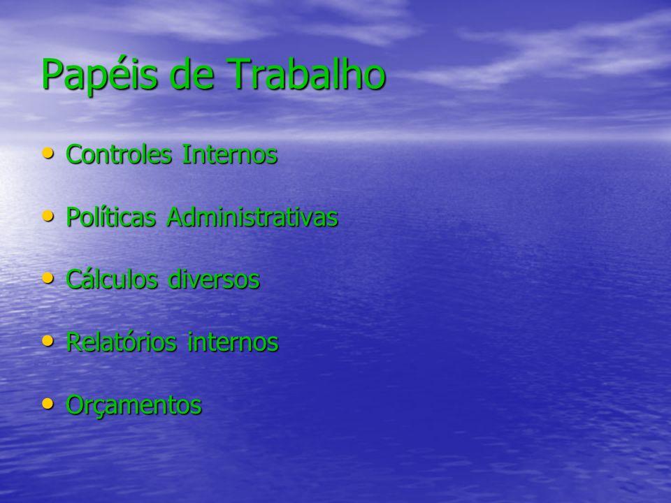 Papéis de Trabalho Controles Internos Políticas Administrativas