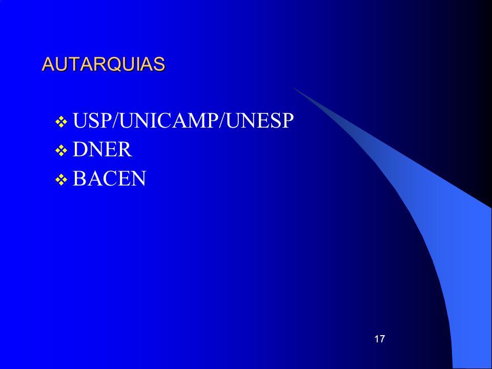 AUTARQUIAS USP/UNICAMP/UNESP DNER BACEN