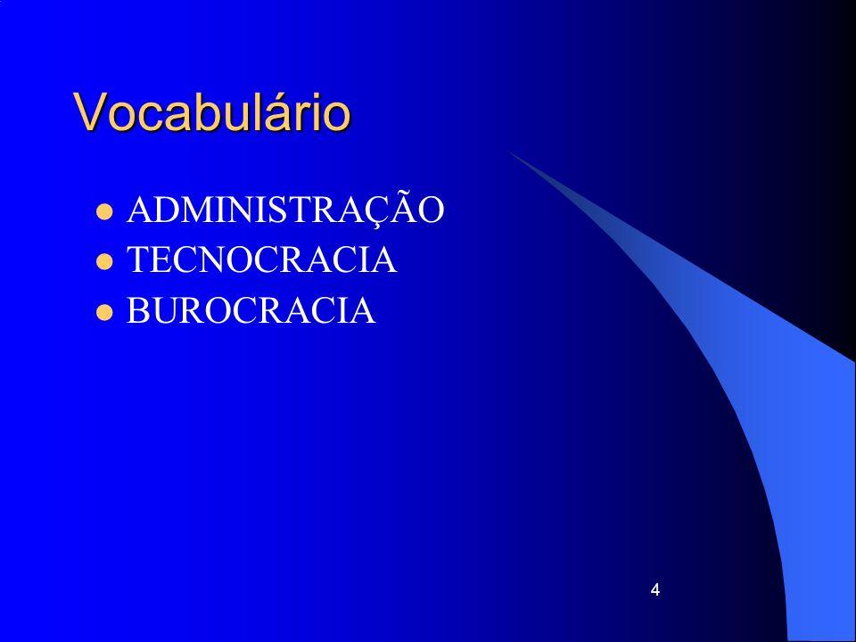 Vocabulário ADMINISTRAÇÃO TECNOCRACIA BUROCRACIA