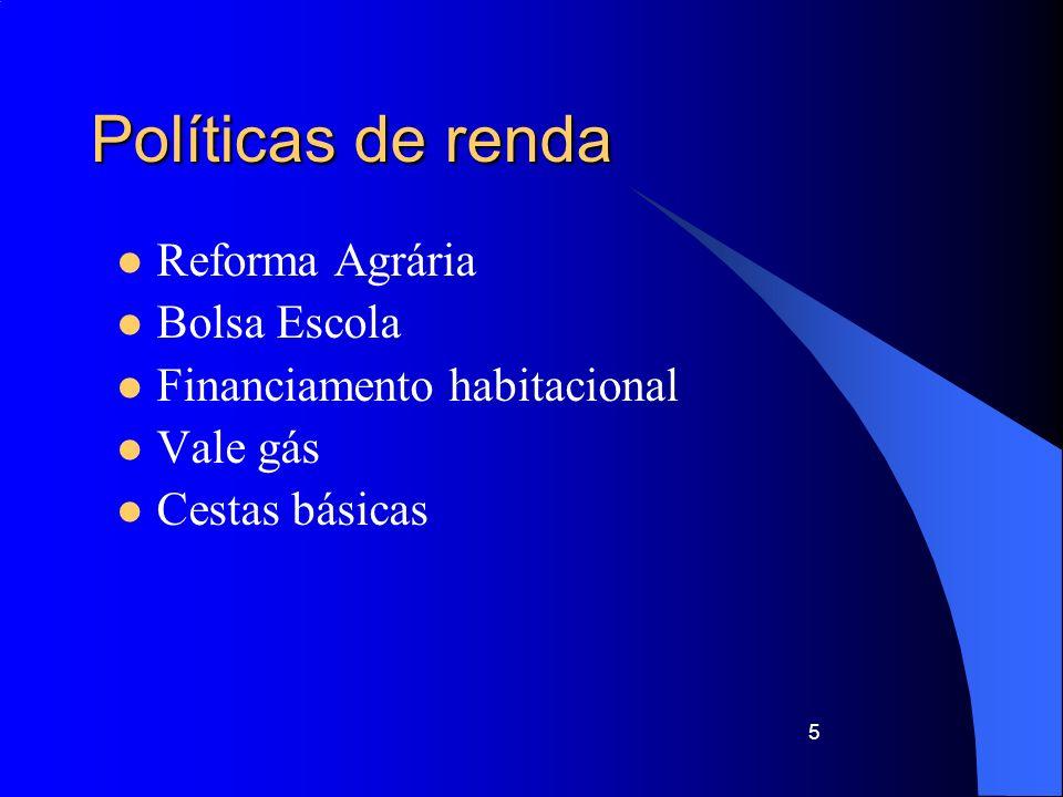 Políticas de renda Reforma Agrária Bolsa Escola