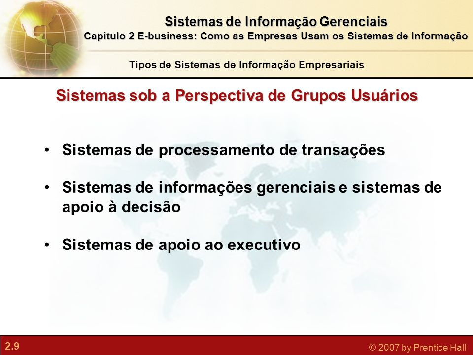 Sistemas sob a Perspectiva de Grupos Usuários