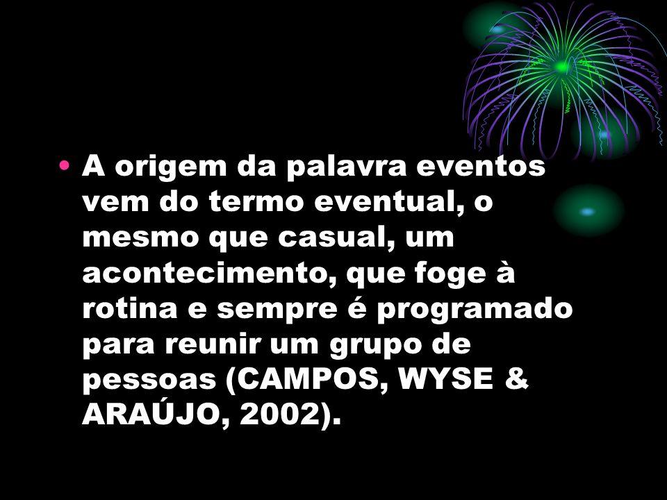 A origem da palavra eventos vem do termo eventual, o mesmo que casual, um acontecimento, que foge à rotina e sempre é programado para reunir um grupo de pessoas (CAMPOS, WYSE & ARAÚJO, 2002).