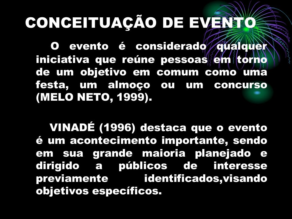 CONCEITUAÇÃO DE EVENTO