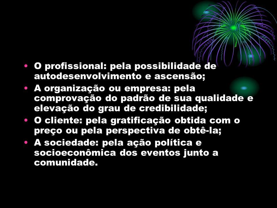 O profissional: pela possibilidade de autodesenvolvimento e ascensão;