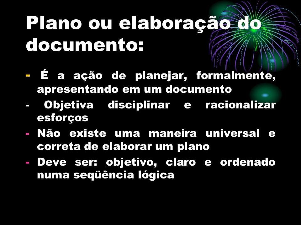 Plano ou elaboração do documento:
