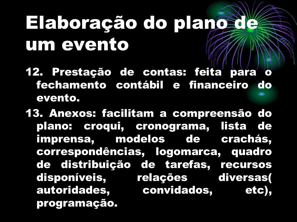 Elaboração do plano de um evento