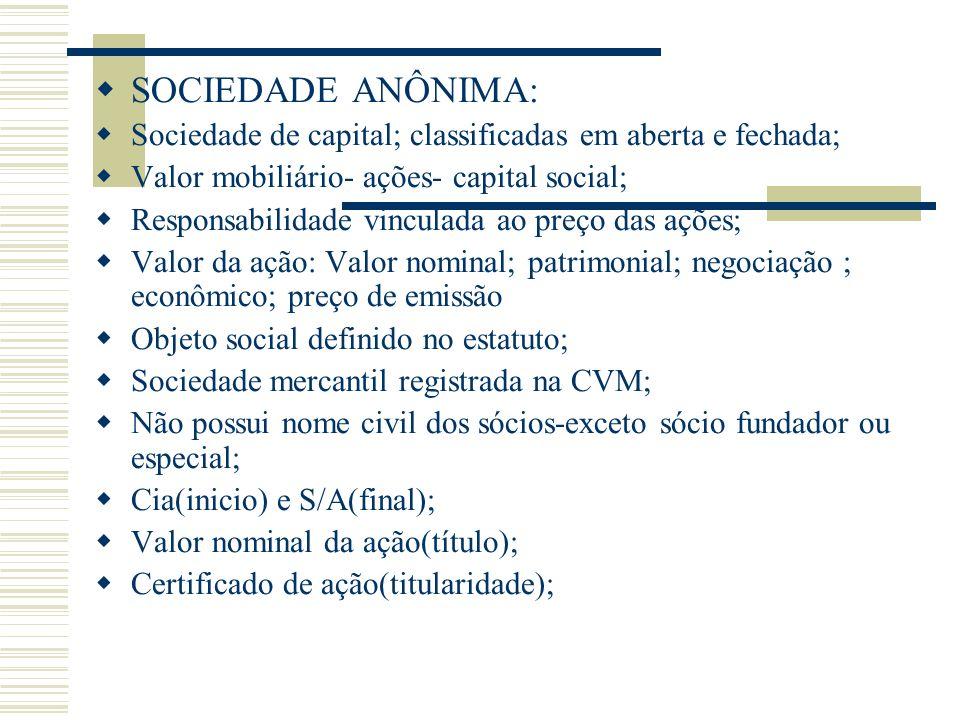SOCIEDADE ANÔNIMA: Sociedade de capital; classificadas em aberta e fechada; Valor mobiliário- ações- capital social;
