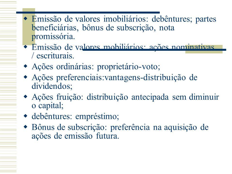 Emissão de valores imobiliários: debêntures; partes beneficiárias, bônus de subscrição, nota promissória.