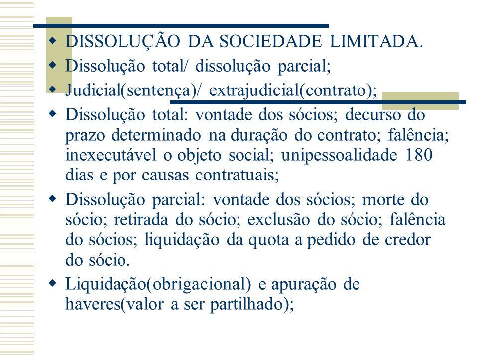 DISSOLUÇÃO DA SOCIEDADE LIMITADA.