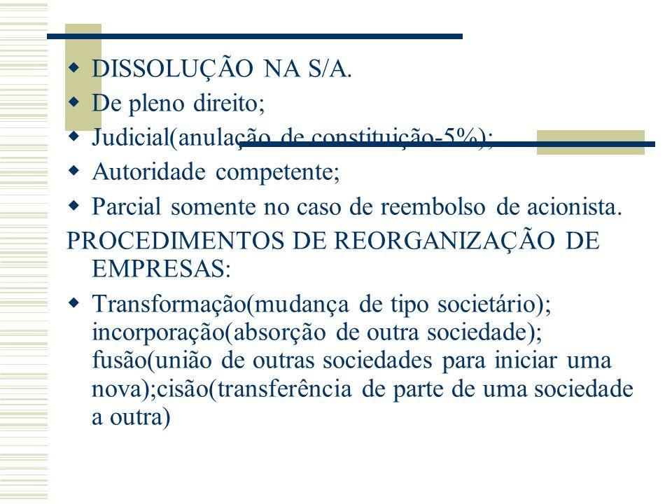 DISSOLUÇÃO NA S/A. De pleno direito; Judicial(anulação de constituição-5%); Autoridade competente;