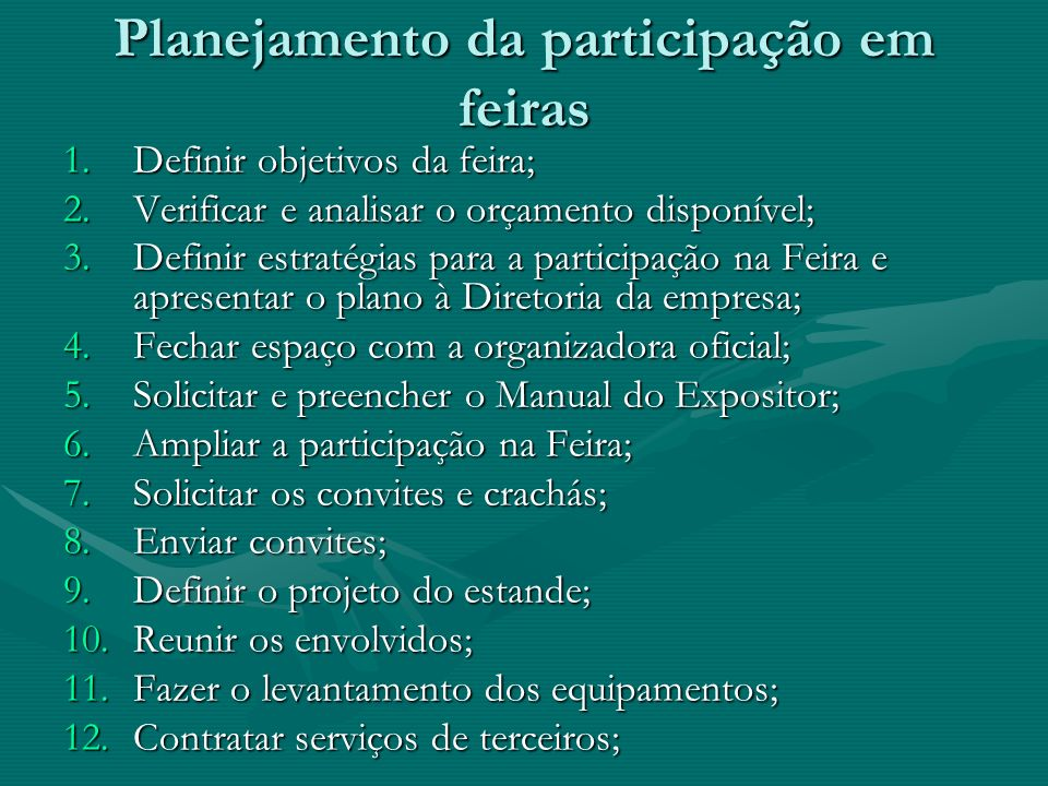 Planejamento da participação em feiras