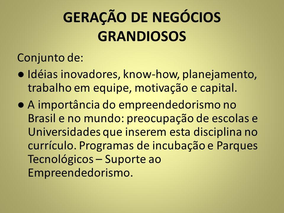 GERAÇÃO DE NEGÓCIOS GRANDIOSOS