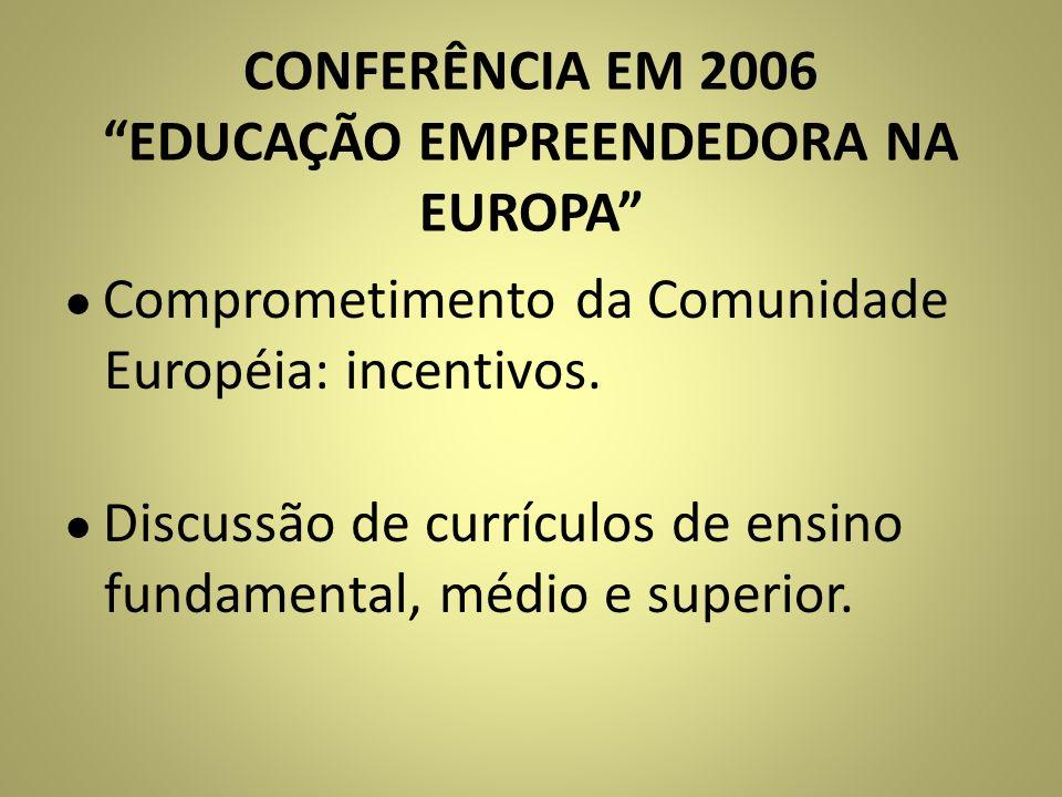 CONFERÊNCIA EM 2006 EDUCAÇÃO EMPREENDEDORA NA EUROPA